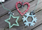 Shabby Chic Christmas Tree Decoration Star, Heart or Snowflake Jingle Bells Set