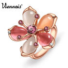 Viennois Elegant Rose Gold Plated Multi Color Opal Flower Cocktail Ring SZ 6 7 8