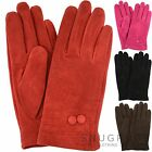 Ladies Suede Gloves with Fleece Lining and Two Button Design