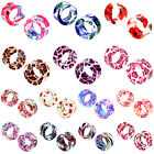 13 Sizes Flower Leopard Skull Zebra Acrylic Double Flare Flesh Tunnels Ear Plugs
