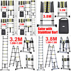 3.8M & 3.2M Multi-Purpose Aluminium Telescopic Ladder Extension Extendable Steps
