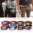 Mens Unisex Plain Colorful Canvas Stripe Fabric Webbing Silver Move Buckle Belt