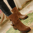 NEW Lady Round Toe Low Heel Buckle Combat Military Slip On Ankle Women's Shoes