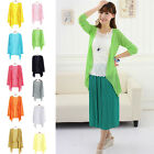 New Casual Women Long Sleeve Tops Cardigan Thin Coat Outwear Blouse 11 Color UK