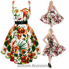 RKH63 Hearts & Roses Tropical Summer Floral Rockabilly Evening Dress 50s Retro