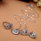 Wholesale Full Shiny Crystal Cute Cat Stud Earrings Ring Necklace For Party Gift