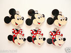 5x Disney Mickey Mouse or Minnie Mouse Pink Red Polka Bow Enamel Charms Pendant