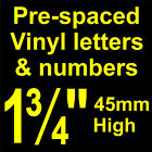 """QTY of: 5 x 1¾"""" 45mm HIGH STICK-ON  SELF ADHESIVE VINYL LETTERS & NUMBERS"""