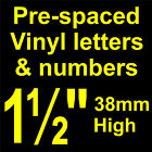 """QTY of: 11 x 1½"""" 38mm HIGH STICK-ON  SELF ADHESIVE VINYL LETTERS & NUMBERS¼"""