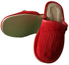 Womens Suede Leather Slippers Slip On Shoes Size 3 4 5 6 7 8 RED Ladies Mules