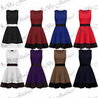 Womens Stretchy Ladies Contrast Panel Sleeveless Knee Length Flared Skater Dress