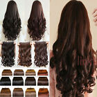 "100% Real Good One Piece Long 17""23""24""26""2​7"" Clip in Hair Extensions Uk Seller"