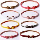 Fashion Women's Lady Colorful Waistband PU Leather Bow Thin Skinny Buckle Belt