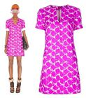 VIBRANT BALENCIAGA SHORT DRESS MARBLE PRINT FUCHSIA SILK TUNISIAN COLLAR