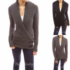 Shawl Collar Raglan Long Sleeve Wrap Buckle Knitwear Jumper Cardigan