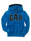 New GAP Arch Logo Zip-up Fleece Hoodie Sweatshirt Jacket Blue Boy Girl 8 10