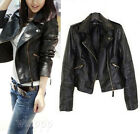 Vintage Women Black Slim Biker Motorcycle Soft Leather Zipper Short Jacket Coat