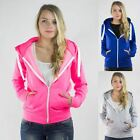 Ladies Womens New Soft Touch Jersey Zip Front Hoody Hoodie Size 6 - 14