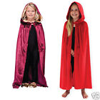 Kids Halloween Velvet Hooded Cloak Vampire Fancy Dress Girls Boys Teen One Size