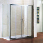 Shower Enclosure Double Sliding Door Glass Cubicle Screen Side Panel Stone Tray