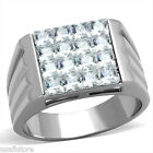 Mens Square CZ Pave Bling Silver Stainless Steel Ring
