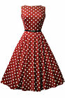 Lady Vintage Audrey Hepburn Red Wine Polka Dot Dress 1950s Style SIZE 8-28