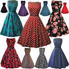 LADY VINTAGE AUDREY HEPBURN DRESS DIFFERENT PRINTS *50s ROCKABILLY* SIZE 8-28