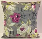 SHABBY CHIC-STYLE FLORAL SINGLE CUSHION COVERS CERISE FLOWERS CREAM BACKGROUND