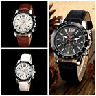 New Classic Faux Leather Band Strap Man's Men's Quartz Wrist Watch Sport Army