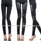 Women Stripes Sexy Mesh Panel Stretchy Faux Leather Tight Casual Pants Leggings