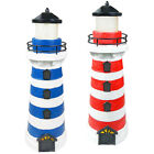 2 Red / Blue Outdoor Gardern Solar 2 Amber LEDs Lighthouse Light Post Path Lawn