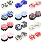 14 Sizes 16 Popular Image Logo Acrylic Screw Flesh Tunnels Black White Ear Plugs