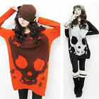 Korean Women Halloween Knitwear Long Sleeve Shirt Long Knit Sweater Tops Blouse