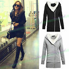 Korean Women Long Hoodie Jacket Coat Zipper Sweatshirt Winter warm Outwear Tops