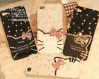 US 3D hello kitty Rhinestone Pearl iPhone 4 4s 5 Cover Case Handmade bow Crystal