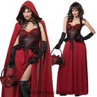 CL25 Dark Red Little Riding Hood Gothic Fancy Dress Halloween Costume Outfit
