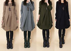 Autumn vogue distinct drape design lady girl's long T-shirt Leisure loose dress