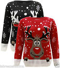 Kids Unisex Reindeer Christmas Rudolf Snow Flakes Knitted Jumper Top