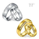 TTstyle Matt S.Steel Engagement Wedding Band Ring Set For Couple Two Color NEW