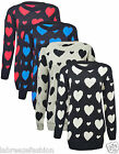 Womens Big Plus Size Knitted Hearts Love Jumper Winter Item Large Sizes