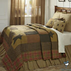 Brown Plaid Primitive Star Country Home Cotton Quilt Bedding Set Bed Collection