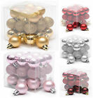 Christmas/Xmas Tree 27 Mini Baubles/Decorations/Balls 'Pink/Red/Silver/Gold'
