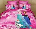 * Pink Frozen Elsa and Anna Single Bed Quilt Cover Set - Flat or Fitted Sheet *