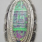 Sterling Silver Handmade Inlay Stone Long Oval Shaped Pendant