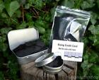 Char cloth in re-sealable bag, screw or hinged lid tins for Bushcraft, Survival