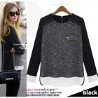 Womens T-Shirt Casual  Loose Blouse Tops Chiffon Crew Neck Black Fashion Hot New