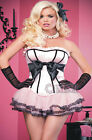 SEXY LADIES MOULIN ROUGE PINK BONED CORSET + TUTU SKIRT SIZE 6 8 10 12 14 16