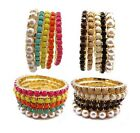 Hot Selling Cute Wholesale 5pc's Set Colorful Beads Pearl Size Stretch Bracelets