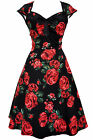 LADY VINTAGE ISABELLA DRESS Black with Red Rose Floral 1950s Swing SIZE 8-30