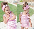 Bulk 9pcs Baby Girls Lace Posh Petti Ruffle Rompers clothes with strap 0-3Y